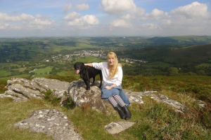 Terri and Tilly on Meldon Hill  Dartmoor