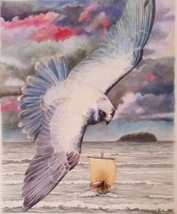EarthseaWhite bird over boat sea